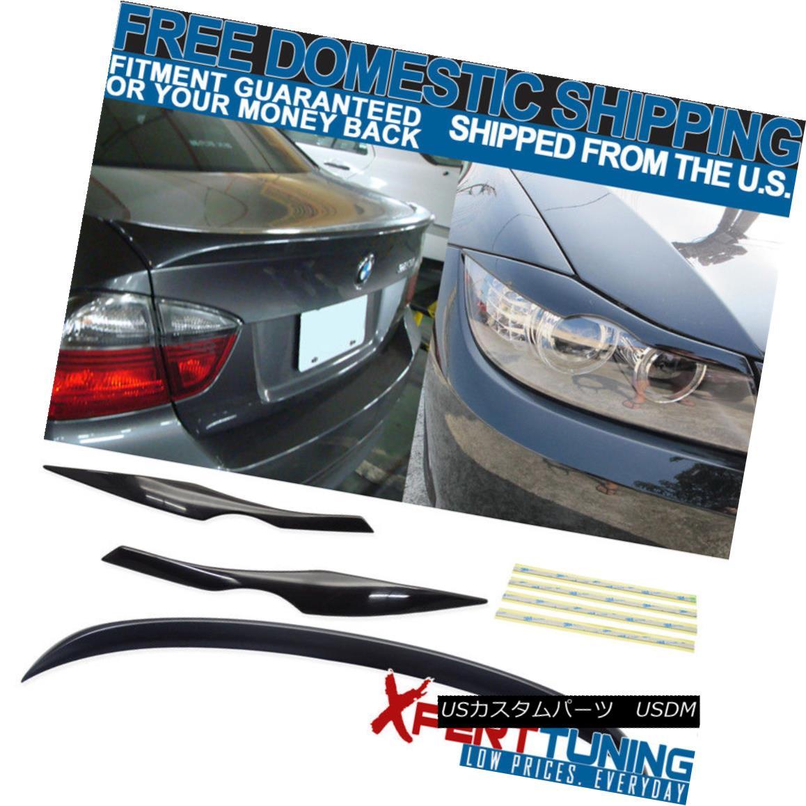 エアロパーツ 06-11 3 Series E90 4Dr Sedan OE ABS Trunk Spoiler + Headlight Eyebrow Unpainted 06-11 3シリーズE90 4DrセダンOE ABSトランク・スポイラー+ヘッドライト・アイブロウ無塗装
