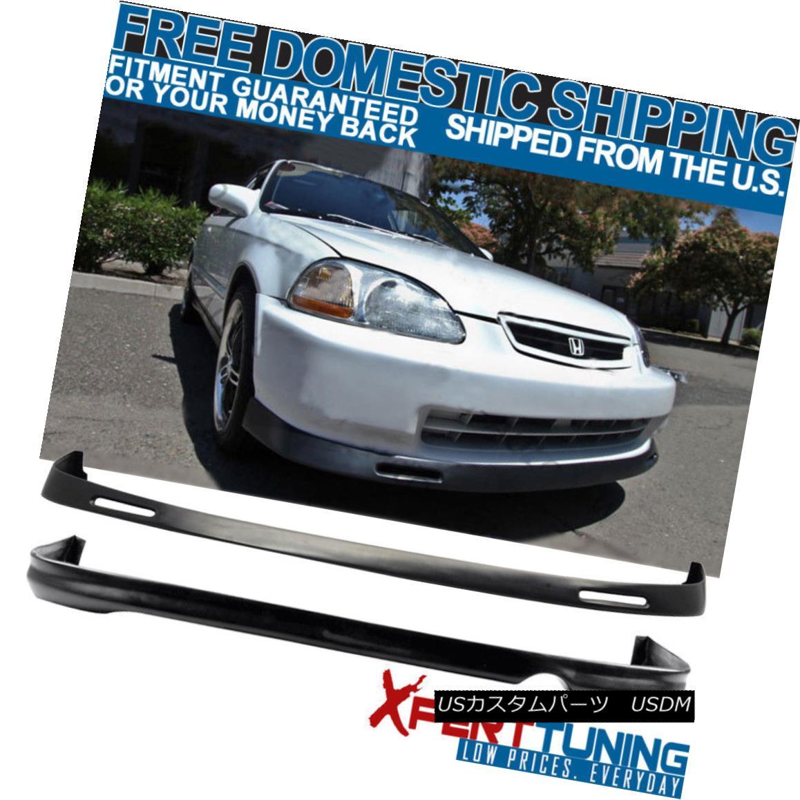 エアロパーツ Fits 96-98 Honda Civic BYS Style Front + Rear Bumper Lip - Urethane フィット96-98ホンダシビックBYSスタイルフロント+リアバンパーリップ - ウレタン