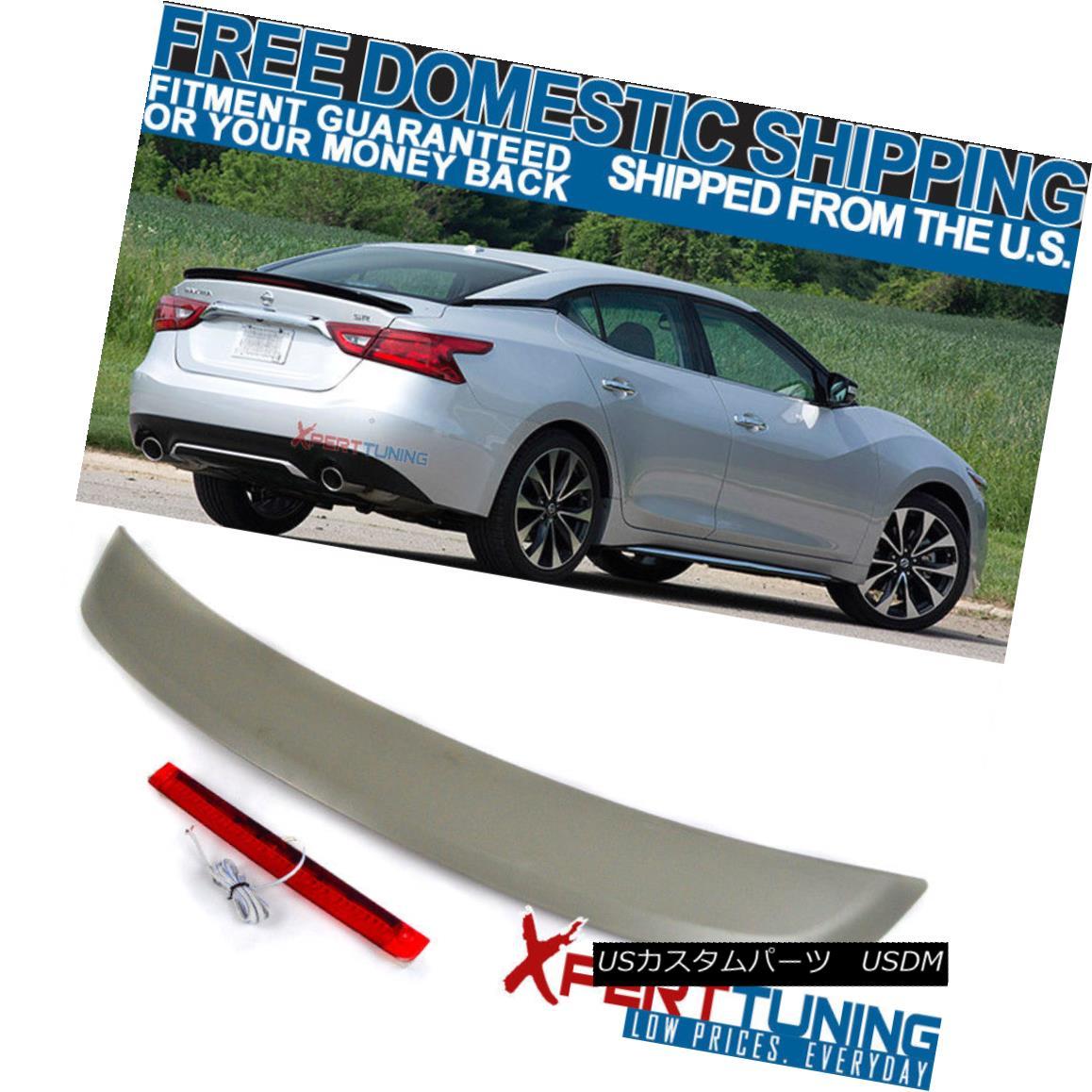 エアロパーツ Fits 16-18 Maxima 8th A36 4Dr Unpainted ABS OE Style Trunk Spoiler LED Brake フィット16-18 Maxima 8th A36 4Dr未塗装ABS OEスタイルトランクスポイラーLEDブレーキ