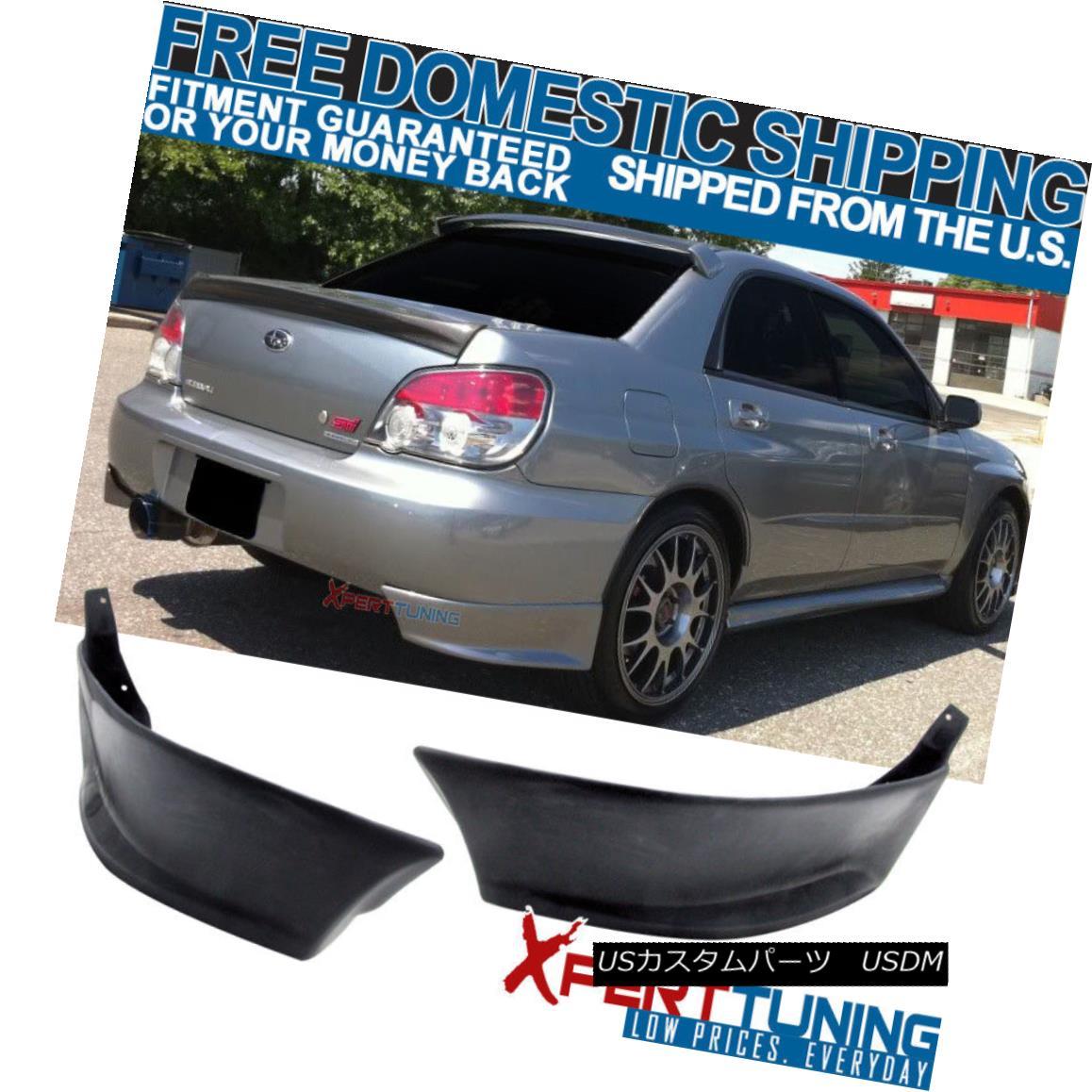 エアロパーツ Fit For 02-07 Subaru Impreza WRX Rear Bumper Lip Splitter 2Pc Valance Spats 02-07 Subaru Impreza WRXリアバンパーリップスプリッター2Pc Valance Spats