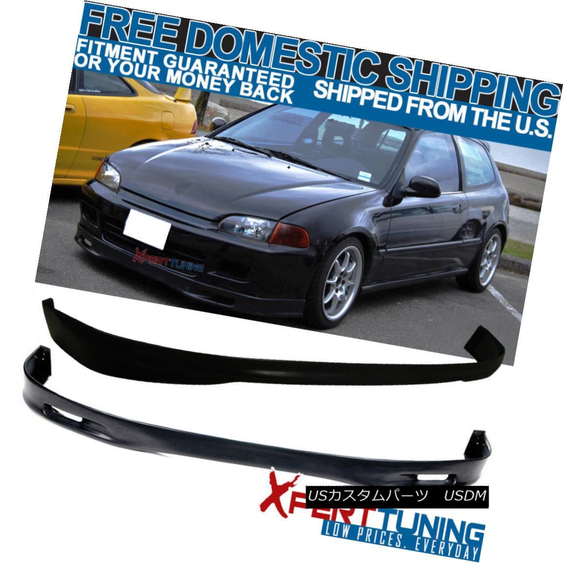 エアロパーツ Fits 1992-1995 Honda Civic EG 3Dr Urethane SP Front + Rear Bumper Lip Bodykit フィット1992-1995ホンダシビックEG 3DrウレタンSPフロント+リアバンパーリップボディキット