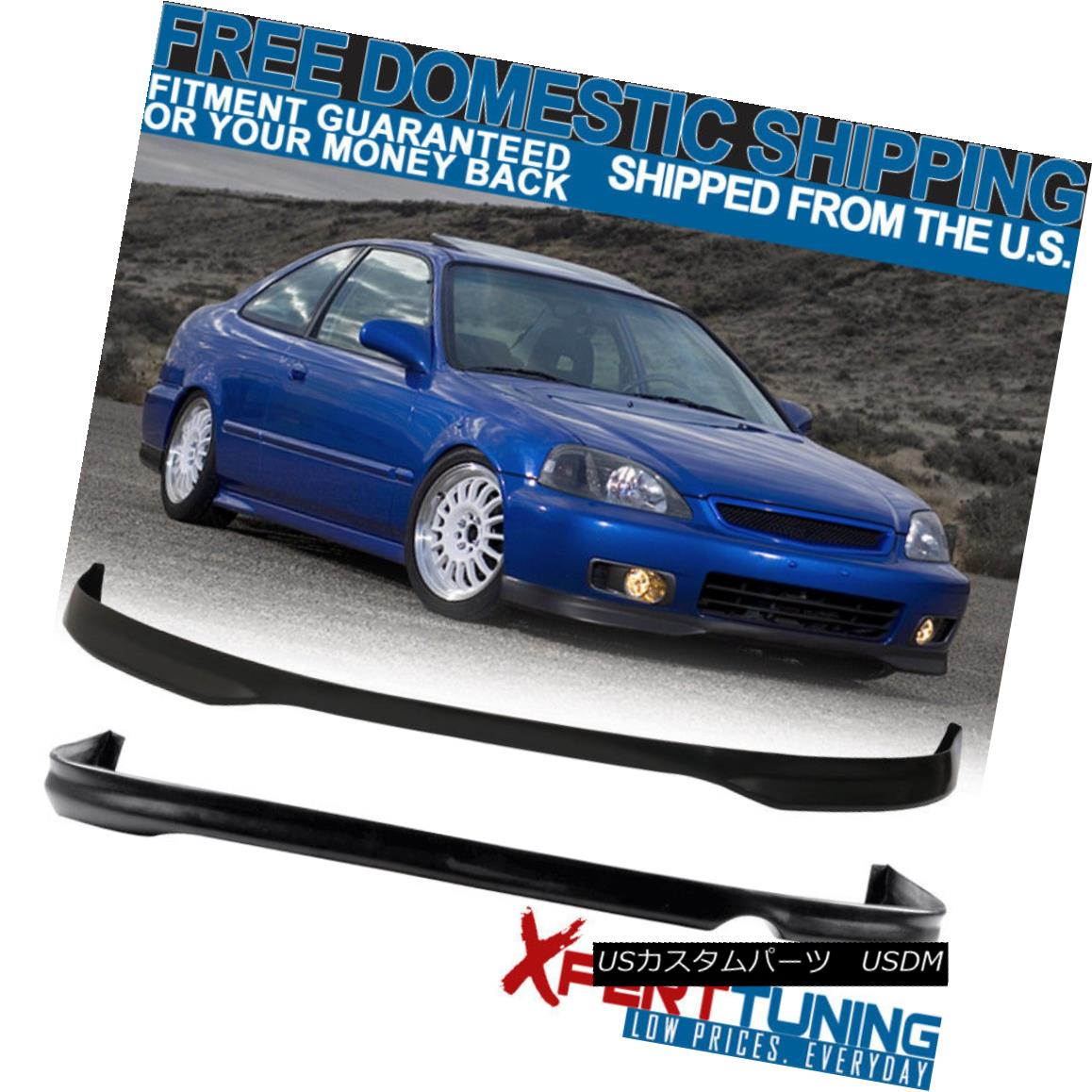 エアロパーツ Fits 1996-1998 Honda Civic EK 2 4Dr T-R Polypropylene Front + Rear Bumper Lip 適合1996-1998ホンダシビックEK 2 4Dr T-Rポリプロピレンフロント+リアバンパーリップ