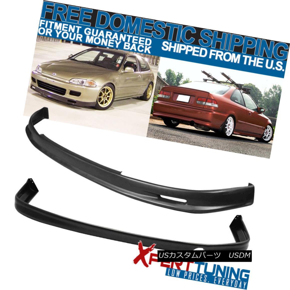 エアロパーツ Fits 1992-1995 Honda Civic EG Mugen Front + Rear Bumper Lip Spoiler PU 適合1992-1995ホンダシビックEGムゲンフロント+リアバンパーリップスポイラーPU