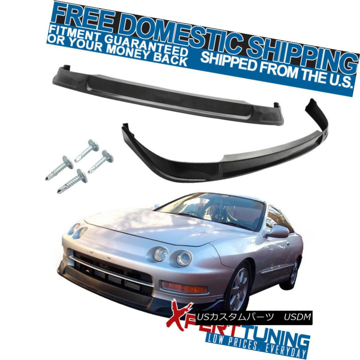 【良好品】 エアロパーツ Fit 94-97 Acura Integra Type C Front Bumper Lip Spoiler PU Black Add On フィット94-97アキュラインテグラタイプCフロントバンパーリップスポイラーPUブラック追加, 櫛田養鶏場 143787cb