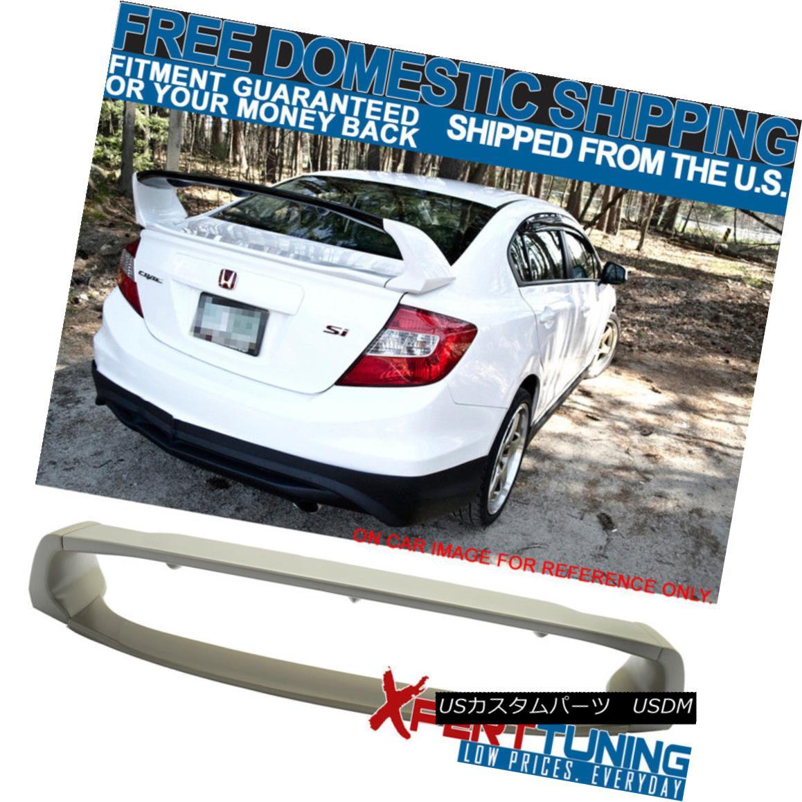 エアロパーツ Mugen Style Unpainted ABS Plastic Trunk Spoiler For 12-15 Honda Civic 4Dr Mugen Style 12-15ホンダシビック4Dr用無塗装ABSプラスチック製トランク・スポイラー