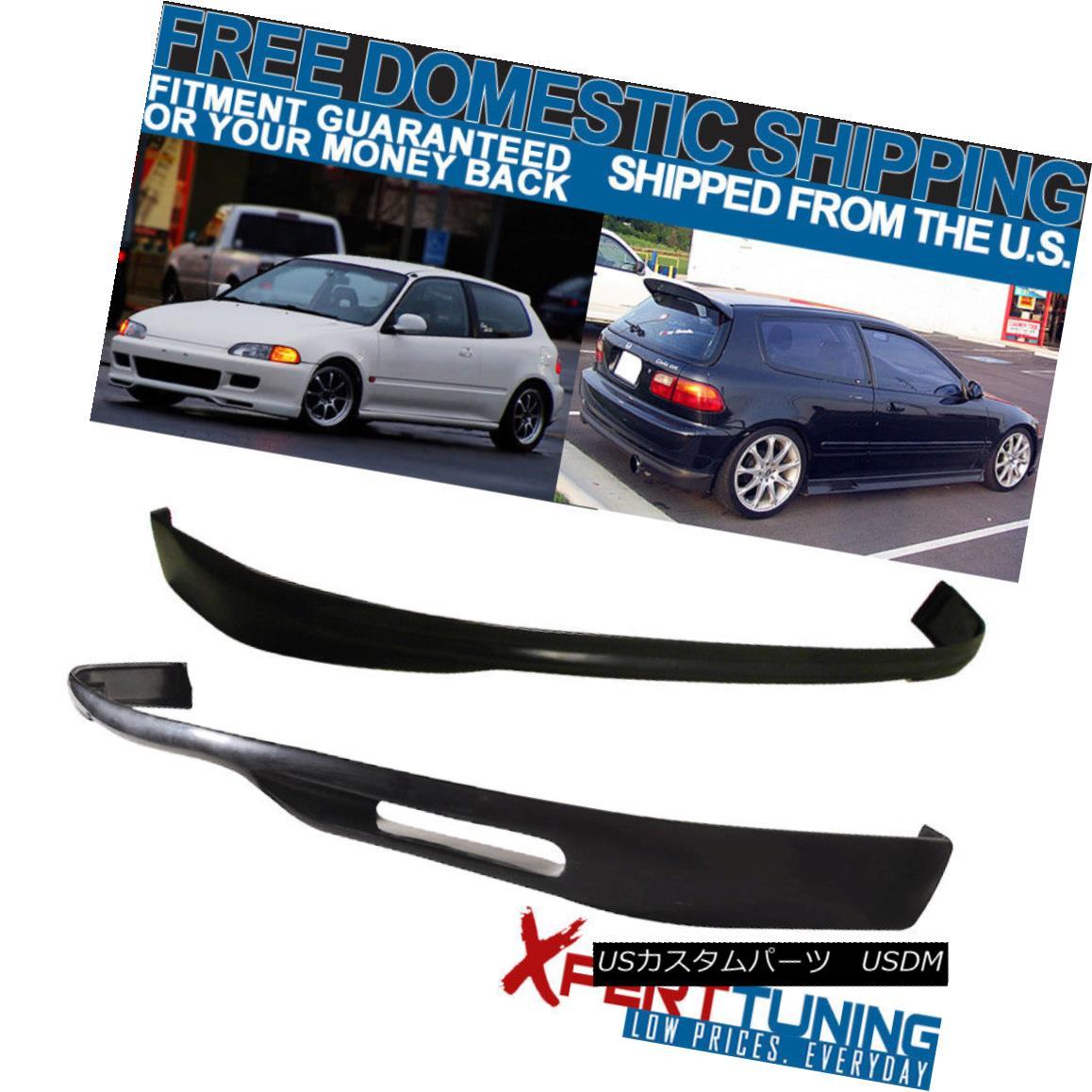 エアロパーツ Fits 92-95 Honda Civic EG WW Style Front + Rear Bumper Lip - Poly Urethane フィット92-95ホンダシビックEG WWスタイルフロント+リアバンパーリップ - ポリウレタン