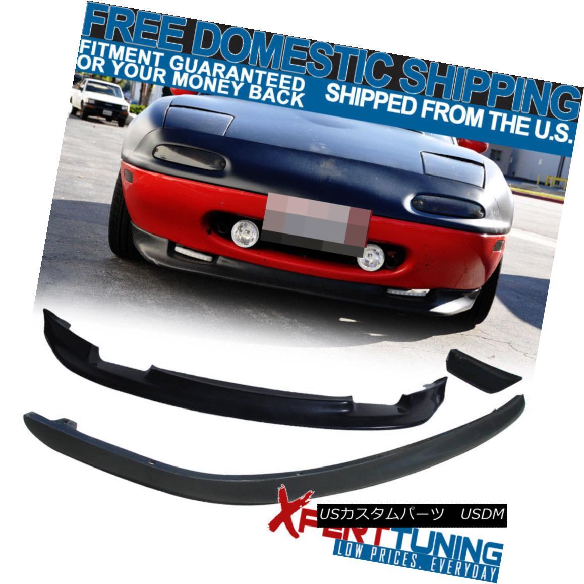 エアロパーツ Fit Mazda Miata 90-97 2Dr RS Style Front + Rear Bumper Lip Spoiler Bodykit Black フィットマツダMiata 90-97 2Dr RSスタイルフロント+リアバンパーリップスポイラーボディキットブラック