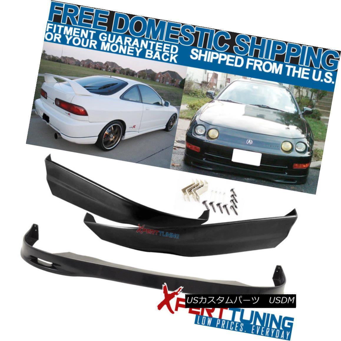 エアロパーツ PU SPOON Style Front + Rear Bumper Lip Bodykit Fit 98-01 Acura Integra PU PU SPOONスタイルフロント+リアバンパーリップボディキットフィット98-01 Acura Integra PU