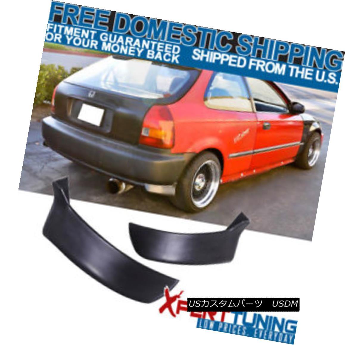 エアロパーツ Fits Honda Civic 96-00 3Dr Hatchback PU 2Pc Rear Bumper Lip Valance Spats フィットホンダシビック96-00 3DrハッチバックPU 2Pcリアバンパーリップバランススパッツ