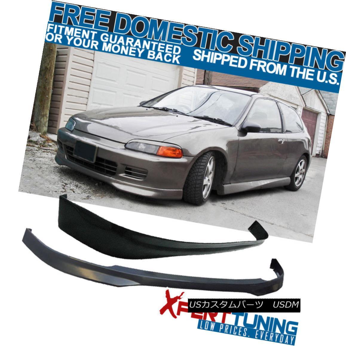 エアロパーツ Fits 1992-1995 Honda Civic EG 3Dr Urethane T-R Front + Rear Bumper Lip Bodykit フィット1992-1995ホンダシビックEG 3DrウレタンT-Rフロント+リアバンパーリップボディキット