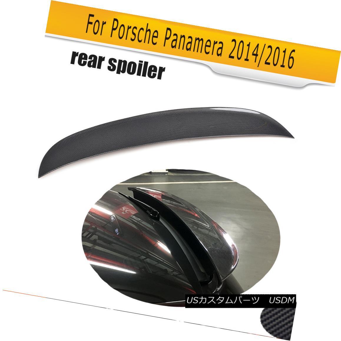 エアロパーツ Carbon Fiber Rear Trunk Duck Lid Spoiler Wing Fit for Porsche Panamera 2014 2016 カーボンファイバーリアトランクダックリッドスポイラーウィングフィットforポルシェPanamera 2014 2016