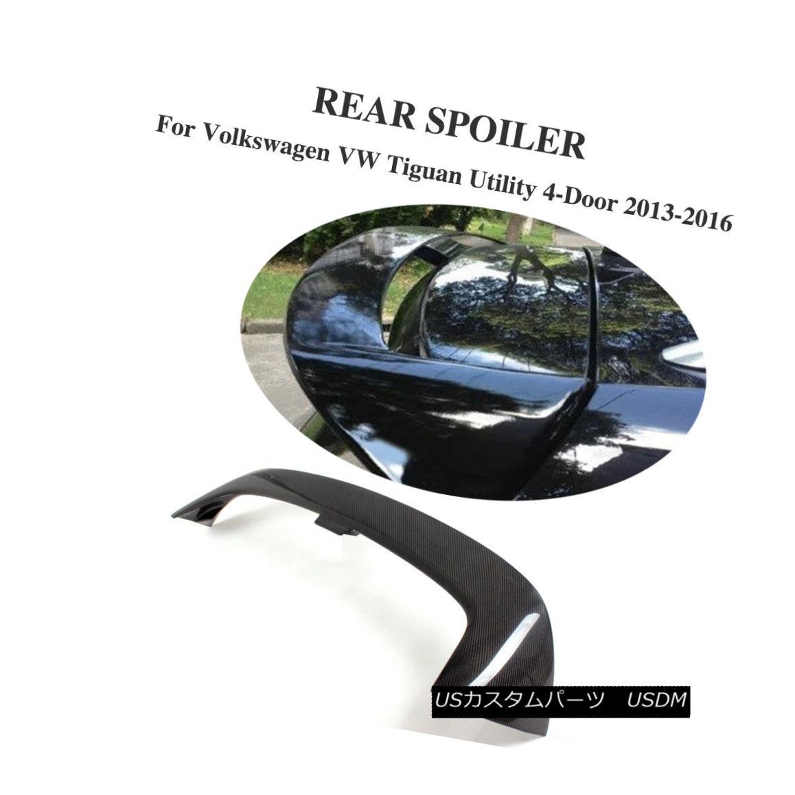 エアロパーツ Carbon Fiber Rear Roof Spoiler Top Wing Lip Fit for Volkswagon VW Tiguan 13-16 フォルクスワーゲンVW Tiguan 13-16用カーボンファイバーリアルーフスポイラートップウィングリップフィット