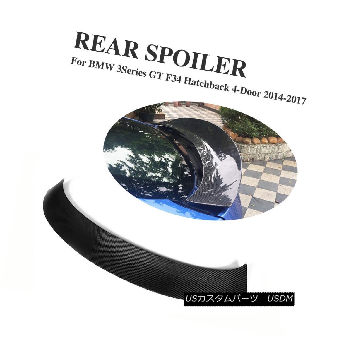 エアロパーツ Carbon Fiber Rear Spoiler Boot Wings Fit for BMW 3 Series F34 GT Hatchback 14-17 BMW 3シリーズF34 GTハッチバック14-17用カーボンファイバーリアスポイラーブーツウィング