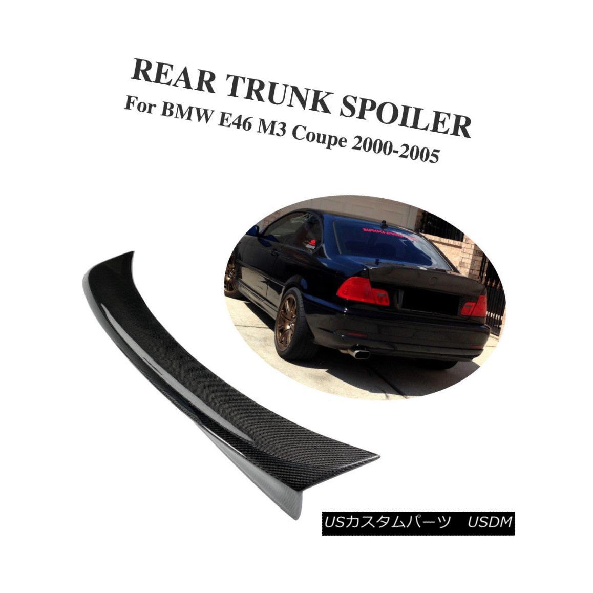 エアロパーツ Carbon Fiber Rear Trunk Spoiler Lip Bigger Wing CSL Fit for BMW E46 M3 Couple カーボンファイバーリアトランクスポイラーリップビガーウィングCSLフィットBMW E46 M3カップル用