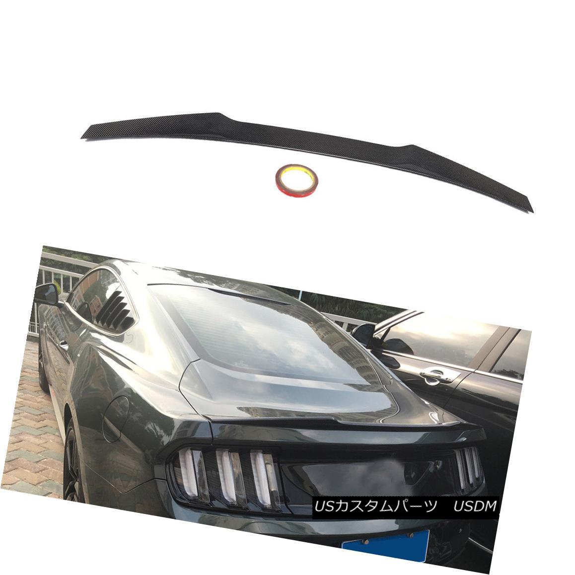 エアロパーツ Carbon Rear Tail Trunk Spoiler Wing Fit for Ford Mustang GT Coupe 2015-2017 フォードマスタングGTクーペ2015-2017のカーボンリアテールトランクスポイラーウィングフィット
