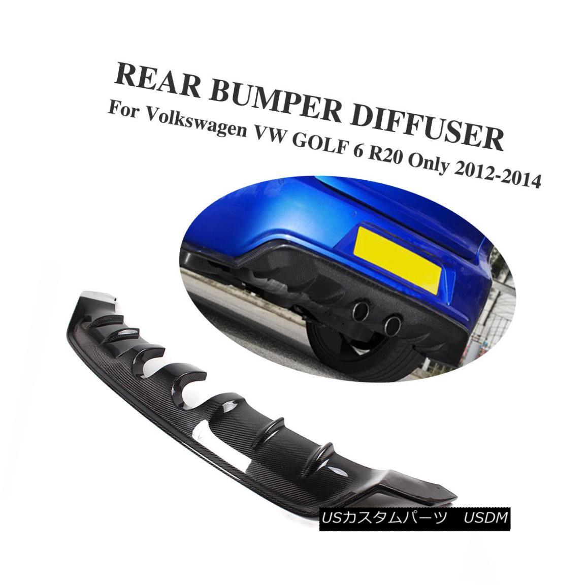 エアロパーツ Carbon Fiber Rear Bumper Diffuser Lip Refit for Volkswagen VW Golf 6 VI MK6 R20 フォルクスワーゲンVWゴルフ6 VI MK6 R20用カーボンファイバーリアバンパーディフューザーリップリジット