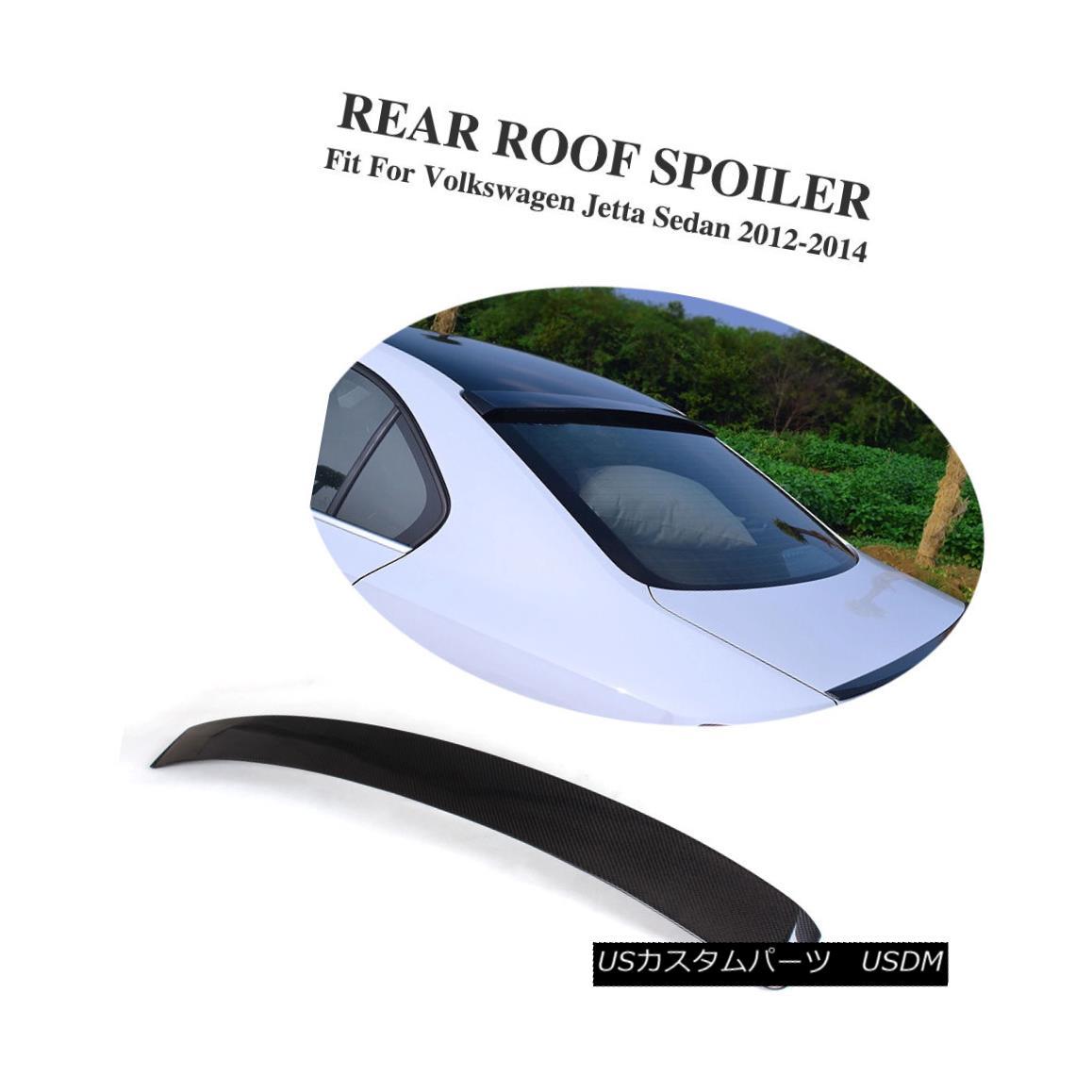 エアロパーツ Rear Roof Spoiler Trunk Wing Carbon Fiber Fit For Volkswagen Jetta Sedan 12-14 フォルクスワーゲンジェッタセダン12-14用リアルーフスポイラートランクウィングカーボンファイバーフィット