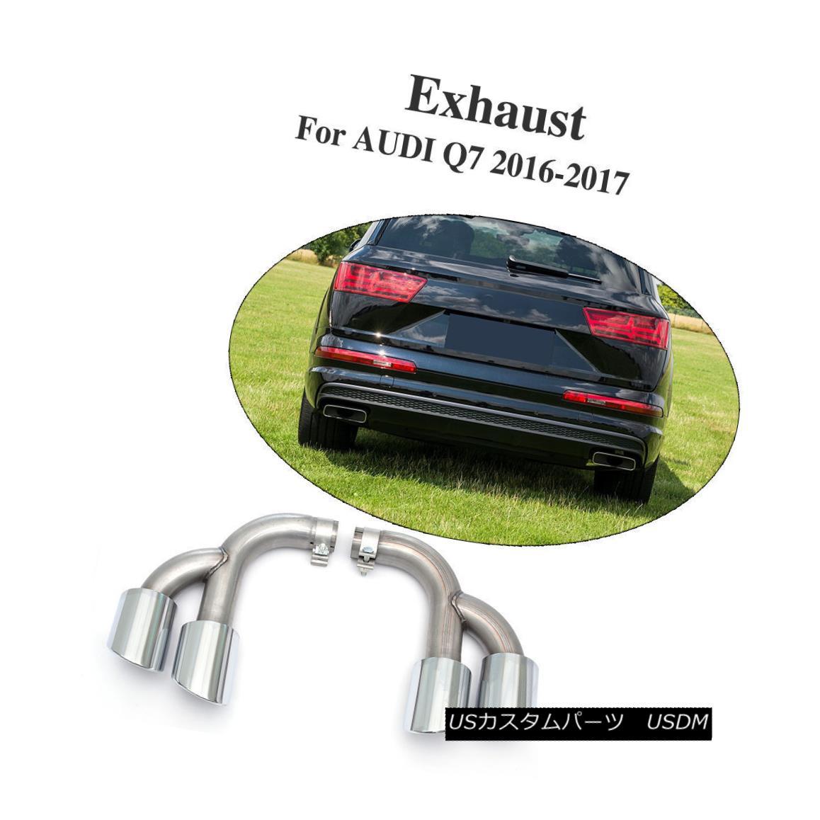 エアロパーツ Stainless Steel Sport Exhaust Tip Tail Quad Pipes Fit For Audi Q7 Type 4M 16-17 ステンレススチールスポーツ排気口テールクワッドパイプは、アウディQ7タイプ4M 16-17に合う