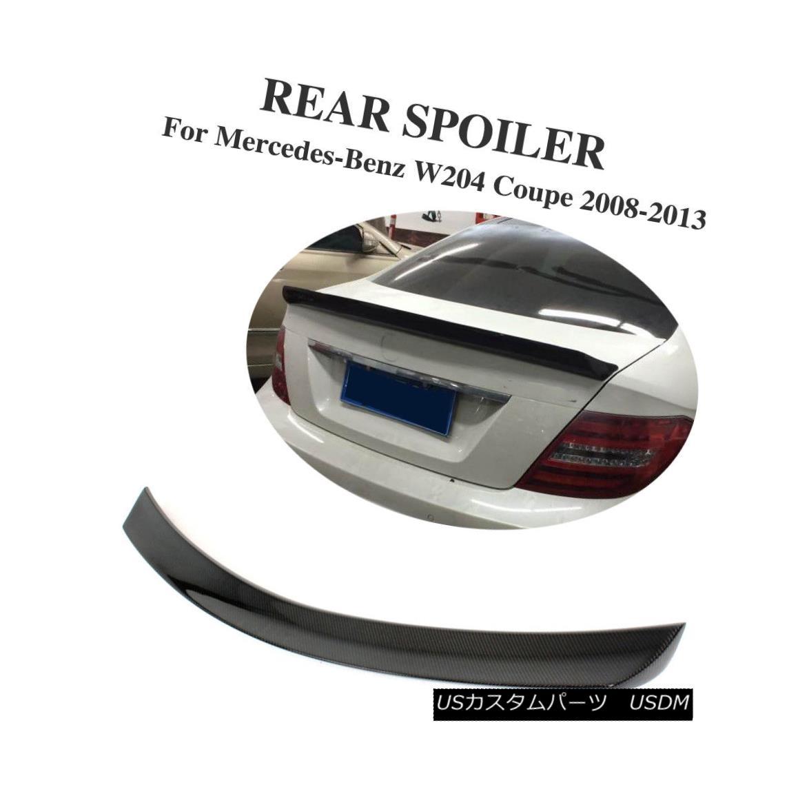 エアロパーツ Carbon Fiber Rear Boot Lip Spoiler Wings Fit for Mercedes Benz W204 Coupe 12-15 メルセデスベンツW204クーペに合うカーボンファイバーリアブーツリップスポイラーウィング12-15