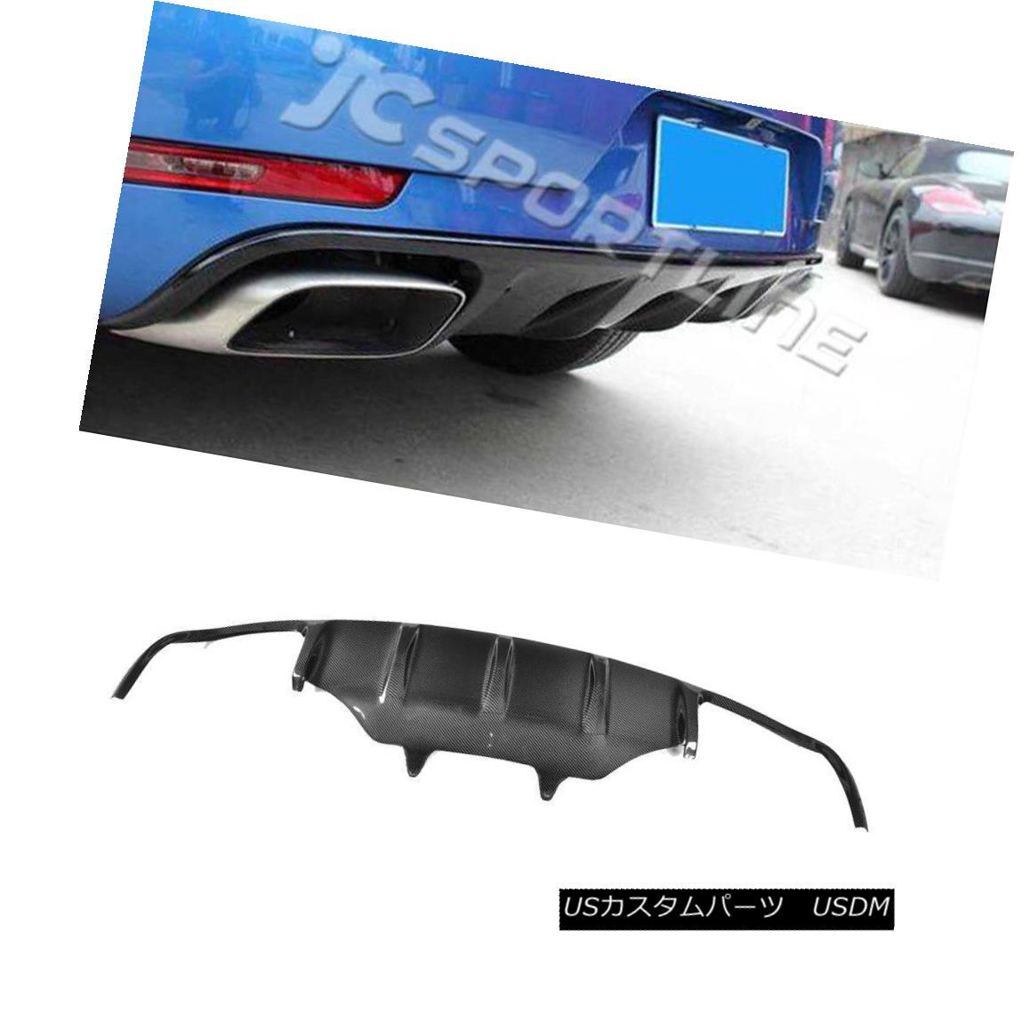 エアロパーツ Carbon Fiber Rear Spoiler Lip Diffuser Fit for Porsche Macan Bumper 2014 Black ポルシェマカンバンパー2014用カーボンファイバーリアスポイラーリップディフューザーブラック