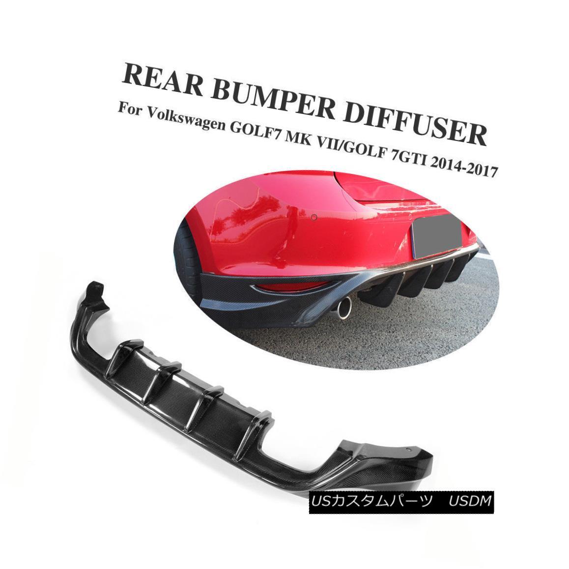 エアロパーツ Carbon Fiber Rear Diffuser Body Kits Black Fit for VW GOLF VII 7 MK7 GTI 14-17 カーボンファイバーリアディフューザーボディーキットVW GOLF VII 7 MK7 GTI 14-17用ブラックフィット