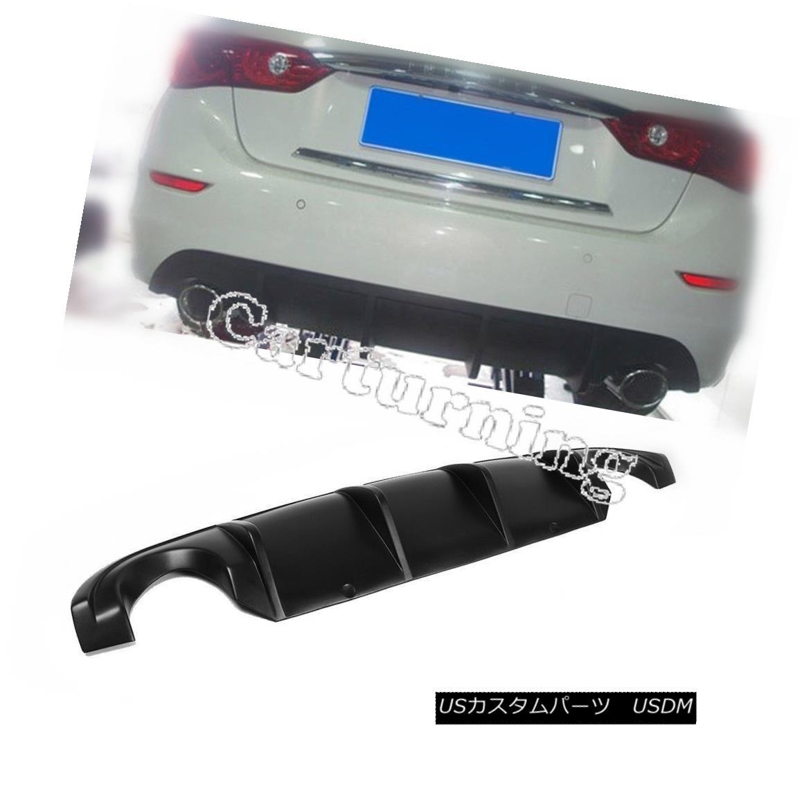 エアロパーツ PU Unpainted Rear Bumper Diffuser Spoiler Lip Wings Fit for Infiniti Q50 14-15 PU未塗装リヤバンパーディフューザースポイラーリップウイングインフィニティQ50 14-15