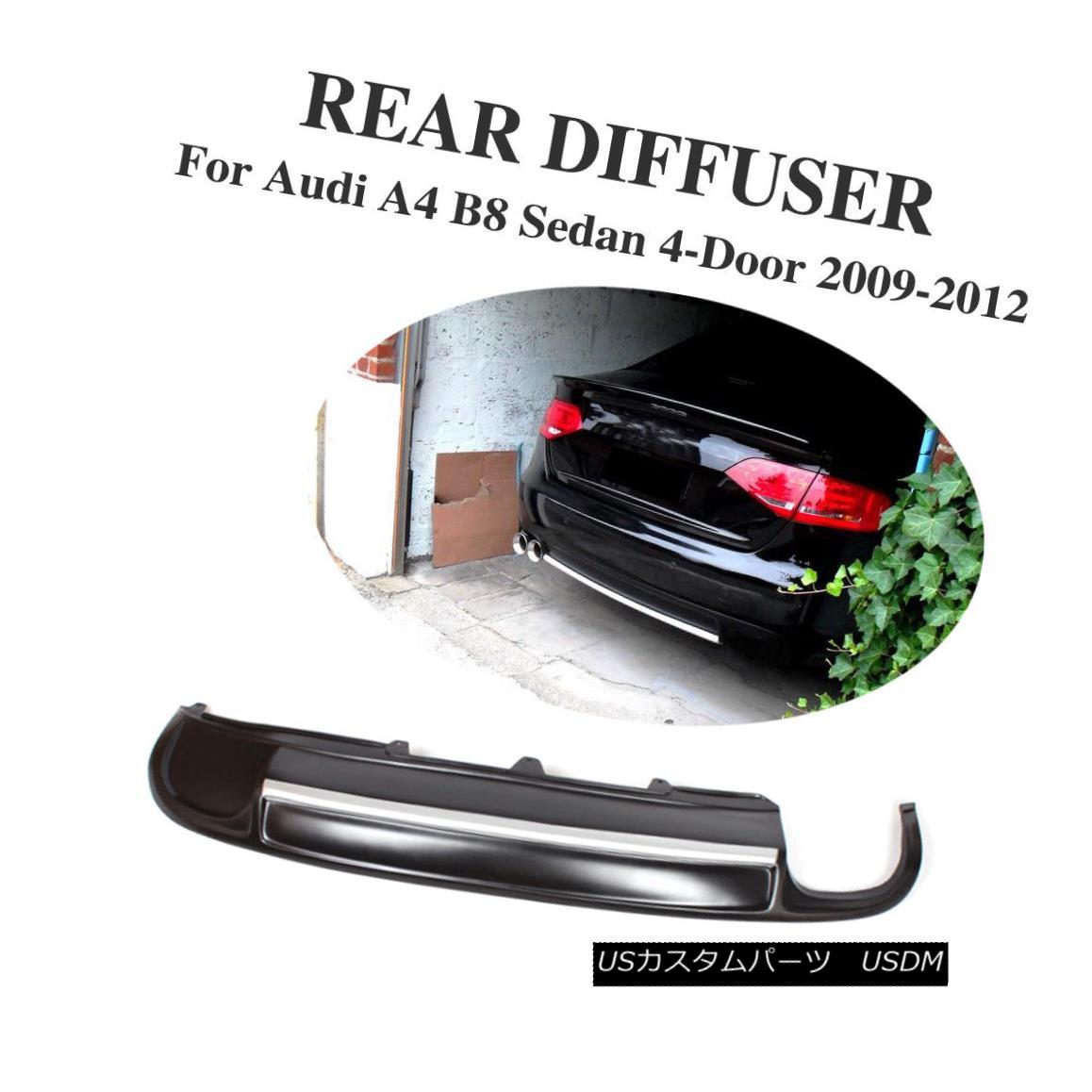 エアロパーツ Rear Bumper Lip Diffuser Trunk Spoiler fit for Audi A4 B8 Non-Sline 09-12 Black アウディA4 B8ノンライン09-12ブラックにフィットするリアバンパーリップディフューザー
