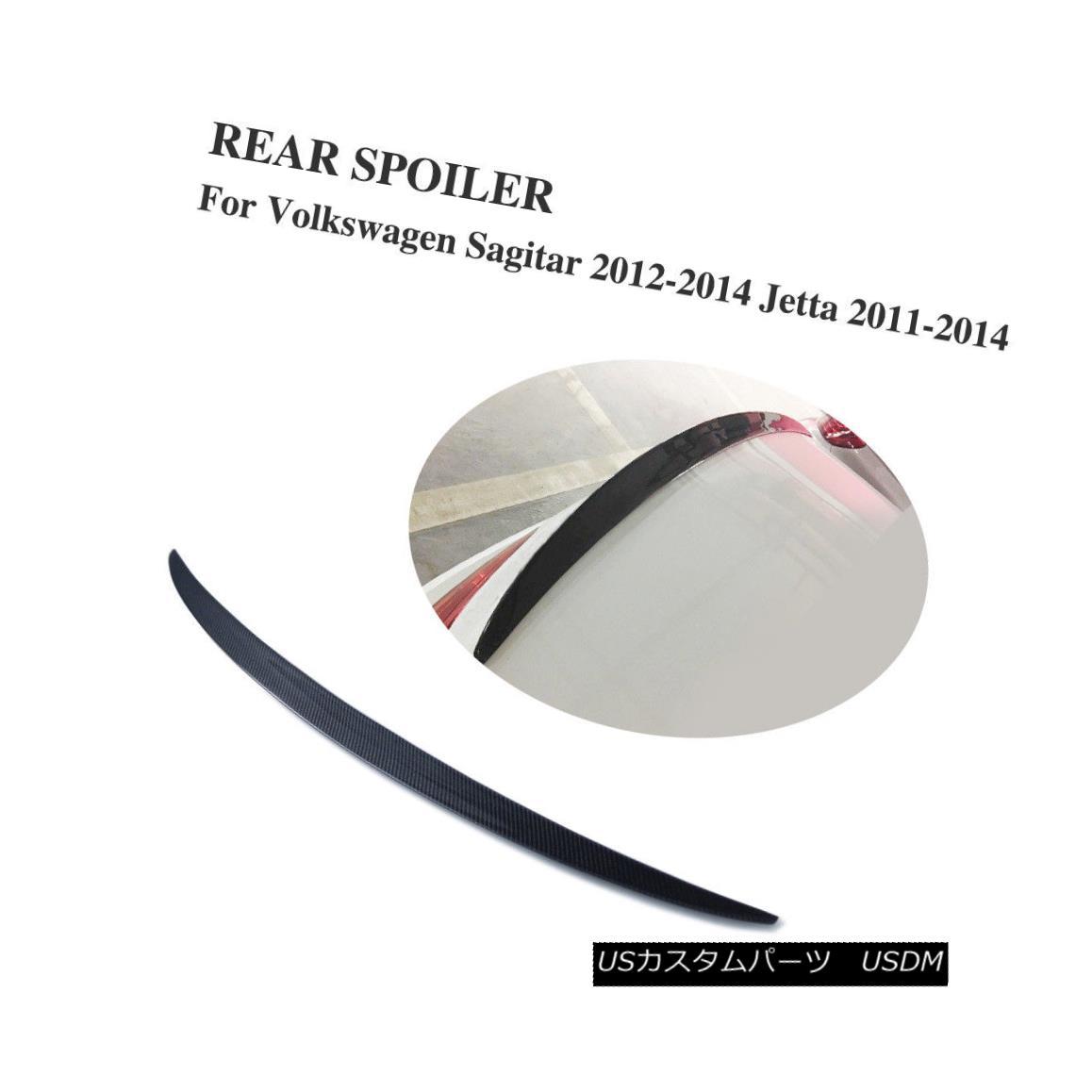 エアロパーツ Carbon Fiber Rear Boot Spoiler Lip Wing Fit for VW Jetta 11-14 Sagitar 12-14 カーボンファイバーリアブーツ・スポイラー・リップウイング、VWジェッタ11-14サガタル12-14