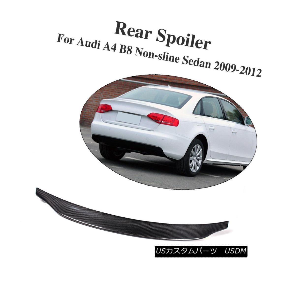 エアロパーツ Black Carbon Fiber Rear Trunk Spoiler Wing Lip Fit For Audi A4 B8 2009-2012 ブラックカーボンファイバーリアトランクスポイラーウイングリップフィットfor Audi A4 B8 2009-2012