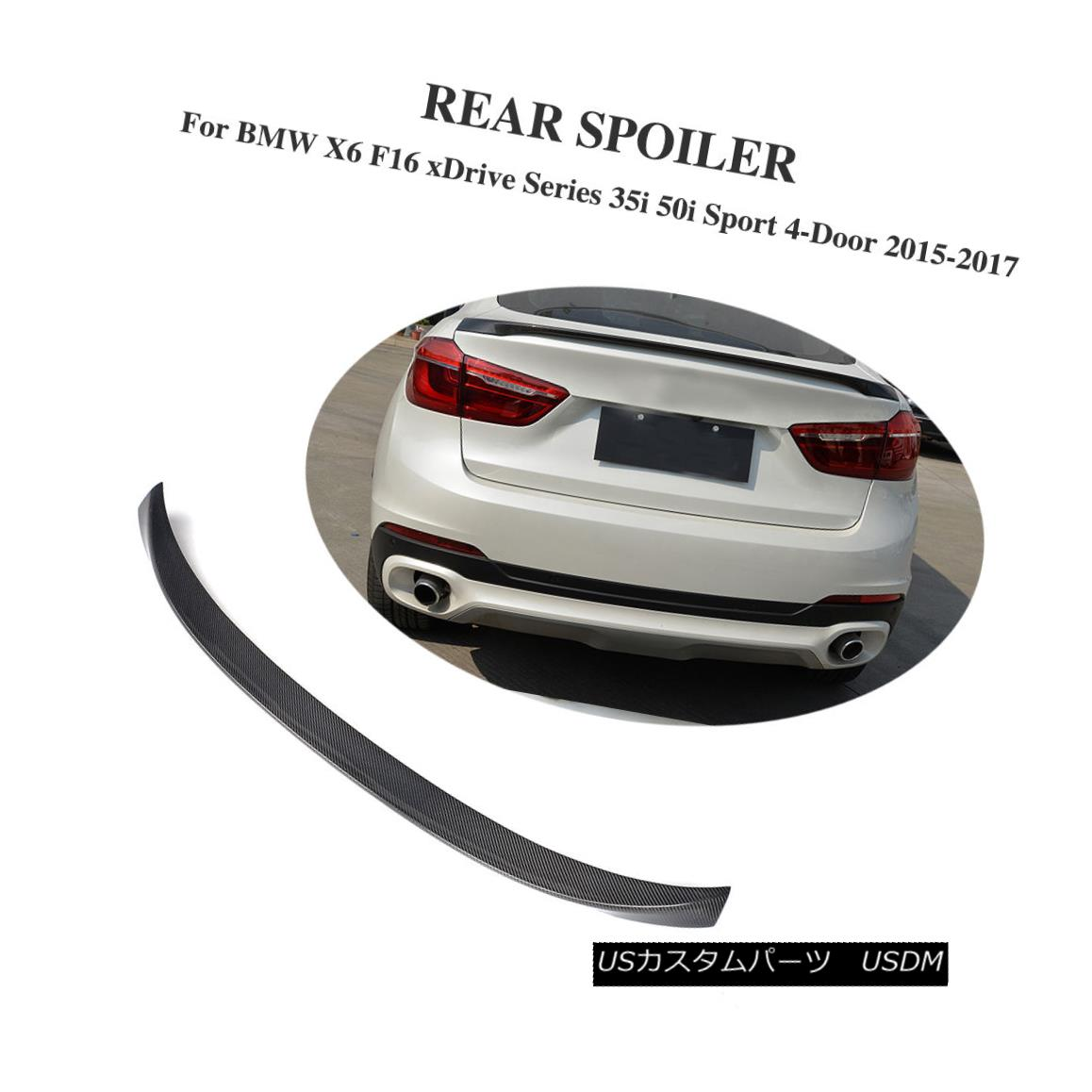 エアロパーツ P Style Carbon Fiber Rear Spoiler Fit for BMW X6 F16 xDrive Series SUV 2015-2016 BMW X6 F16 xDriveシリーズSUV 2015-2016用Pスタイルカーボンファイバーリアスポイラー