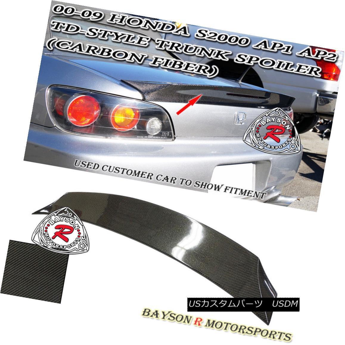 エアロパーツ TD-Style Rear Trunk Spoiler Wing (Carbon) Fits 00-09 Honda S2000 AP1 AP2 TD-Styleリアトランクスポイラーウインカー(カーボン)00-09ホンダS2000 AP1 AP2