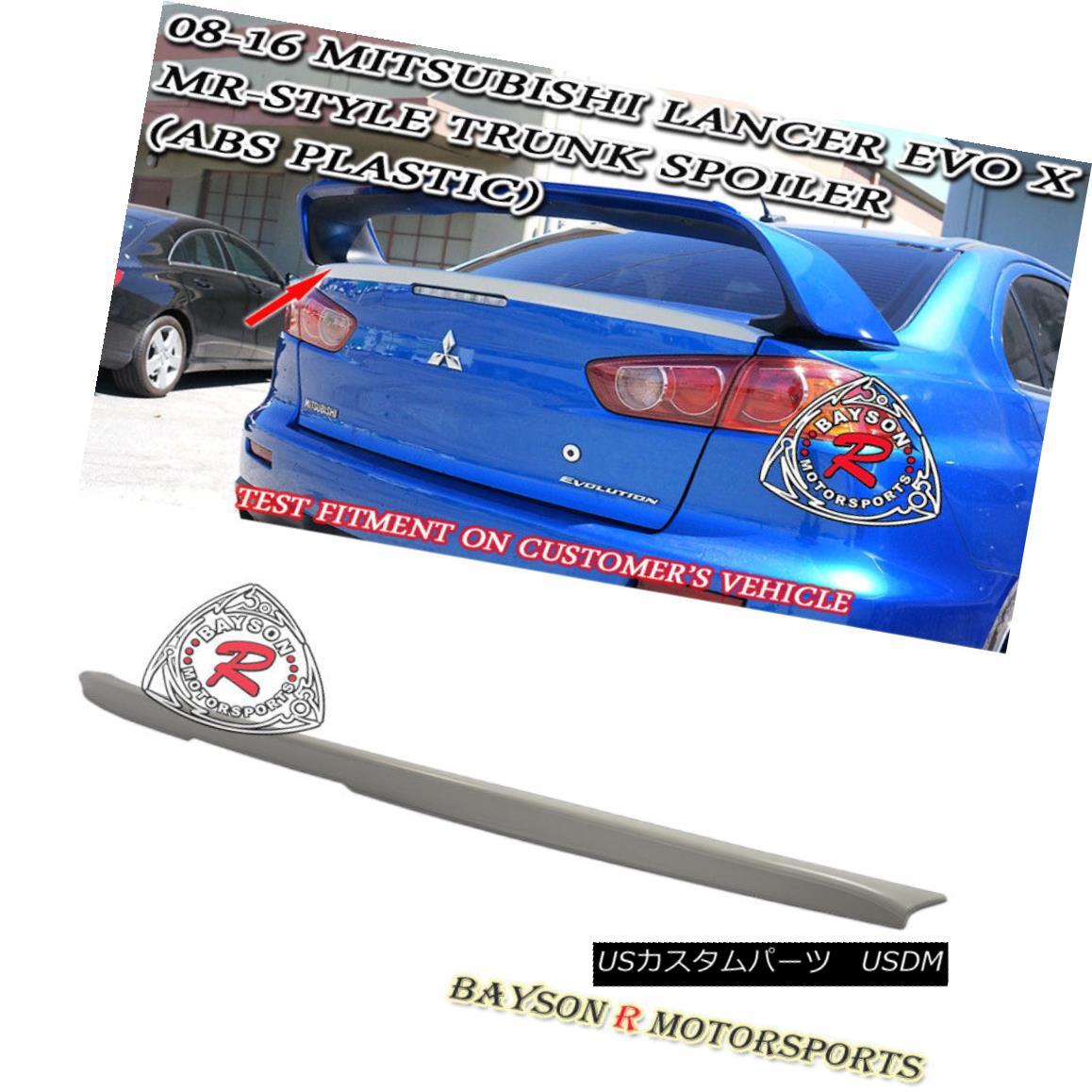 エアロパーツ MR-Style Rear Trunk Lip Spoiler Wing (ABS) Fits 08-16 Mitsubishi Lancer EVO 10 X MR-スタイルリアトランクリップスポイラーウイング(ABS)08-16三菱ランサーEVO 10 X
