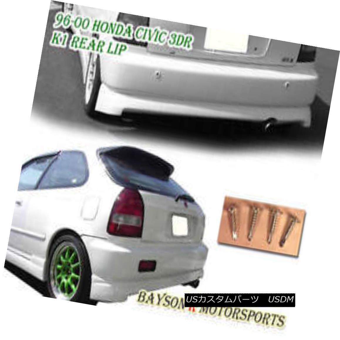 エアロパーツ Hatch K1 Drift CS Style Rear Lip (ABS) Fits 96-00 Civic 3dr ハッチK1ドリフトCSスタイルリアリップ(ABS)96-00 Civic 3drに適合
