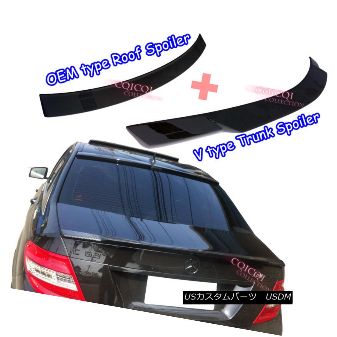 エアロパーツ Painted M-BENZ 08~14 W204 C Sedan V type trunk spoiler +OE type roof spoiler ◎ 塗装済みM-BENZ 08?14 W204 CセダンV型トランク・スポイラー+ OE型ルーフ・スポイラー?