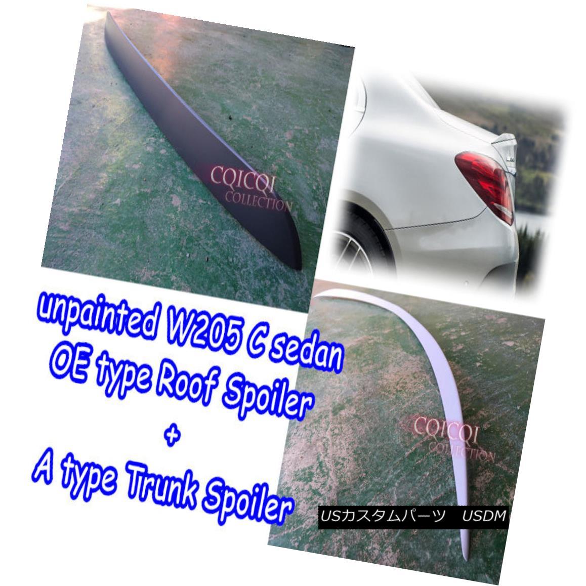 エアロパーツ Unpainted BENZ 15~17 W205 C class Sedan OE type roof spoiler + trunk spoiler ◎ 未塗装ベンツ15?17 W205 CクラスセダンOEタイプルーフスポイラー+トランク・スポイラー?