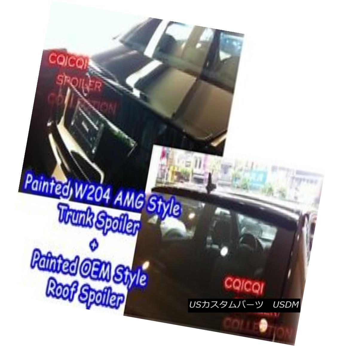 エアロパーツ Glossy Black BENZ W204 C sedan AMG type trunk spoiler + OEM type roof spoiler ◎ 光沢ブラックBENZ W204 CセダンAMGタイプトランクスポイラー+ OEMタイプのルーフスポイラー?