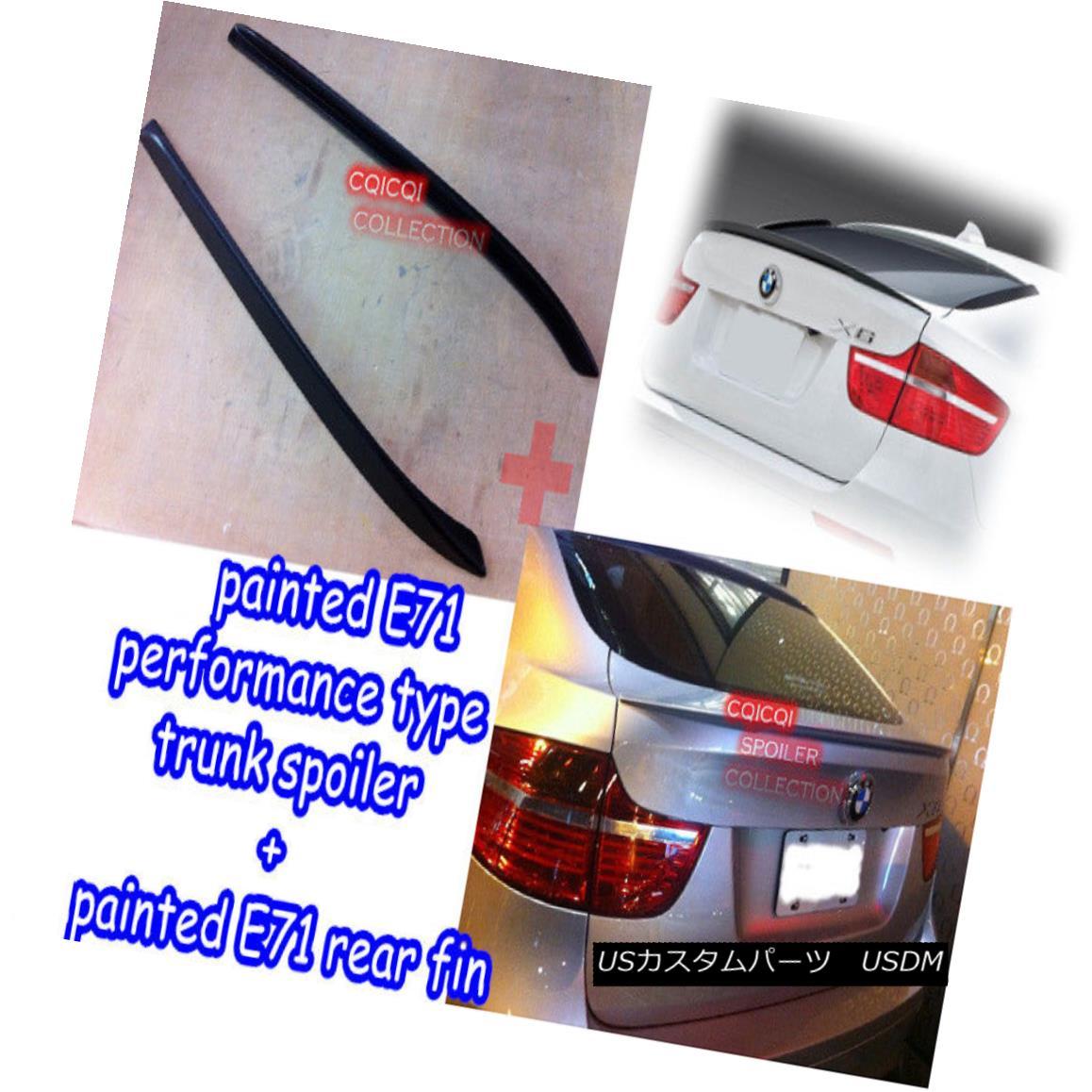 エアロパーツ Painted combo BMW 07-14 E71 X6 Performance type trunk spoiler + 2pcs rear fin◎ 塗装コンボBMW 07-14 E71 X6パフォーマンスタイプのトランク・スポイラー+ 2個のリア・フィン?