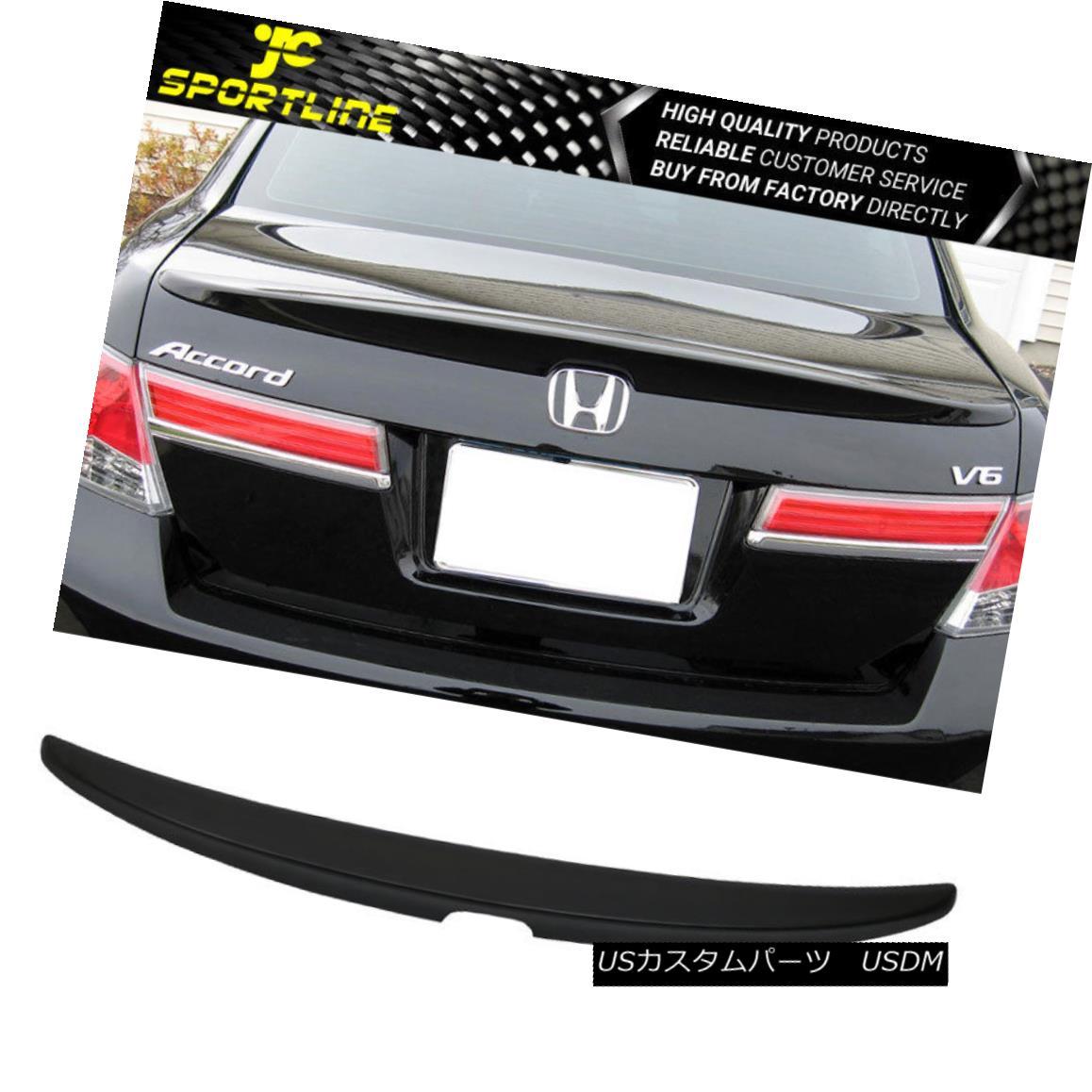 エアロパーツ Fits 08-12 Honda Accord EX LX Sedan 4DR Rear Trunk Spoiler Wing Unpainted Black フィット08-12ホンダアコードEX LXセダン4DRリアトランク・スポイラーウイング無塗装ブラック
