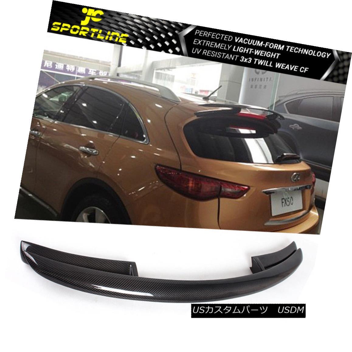 エアロパーツ Fits 09-12 Infiniti FX35 FX50 Roof Spoiler Wing Carbon Fiber フィット09-12インフィニティFX35 FX50ルーフスポイラーウィングカーボンファイバー