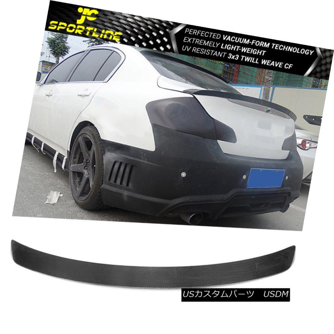 エアロパーツ Fits 07-15 Infiniti G35/G25/G37/Q40 Sedan Only Trunk Spoiler Carbon Fiber CF フィット07-15インフィニティG35 / G25 / G37 / Q4 0セダンのみトランクスポイラー炭素繊維CF
