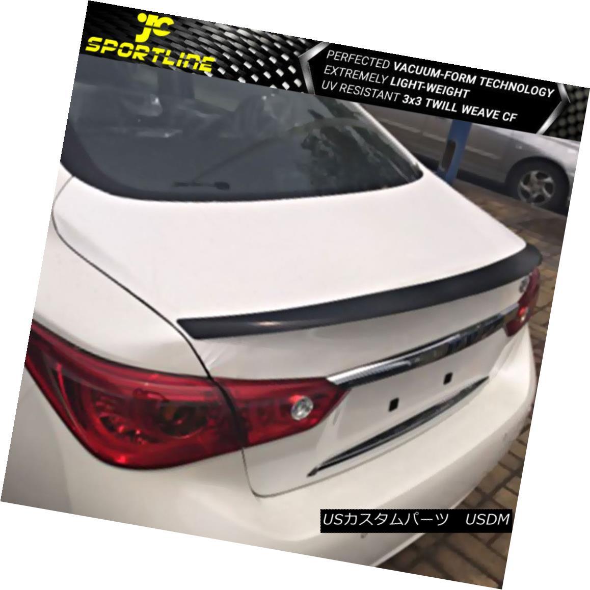 エアロパーツ Fits 14-18 Infiniti Q50 Rear Trunk Spoiler Wing Carbon Fiber フィット14-18インフィニティQ50リアトランクスポイラーウィングカーボンファイバー