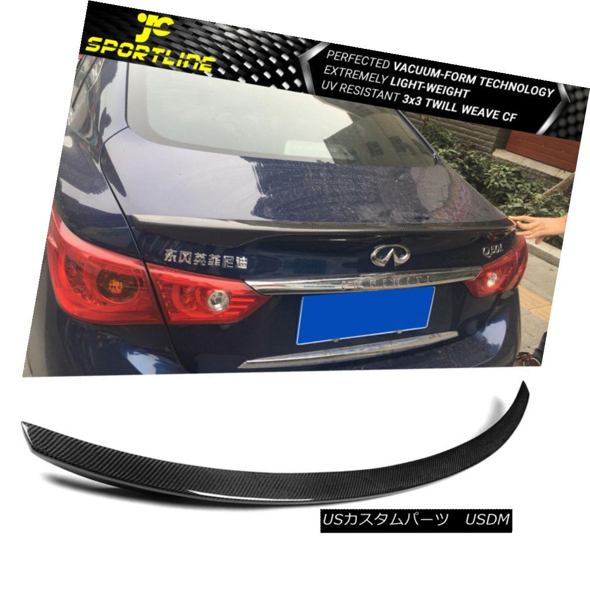 エアロパーツ Fits 14-18 Infiniti Q50 OE Style Trunk Spoiler Wing Carbon Fiber フィット14-18インフィニティQ50 OEスタイルトランクスポイラーウィング炭素繊維