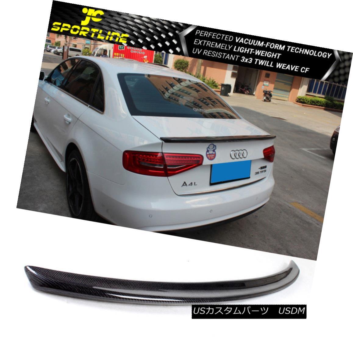 エアロパーツ Fits 09-16 Audi A4/ A4 Quattro / S4 Trunk Spoiler Carbon Fiber フィット09-16アウディA4 / A4クワトロ/ S4トランクスポイラー炭素繊維