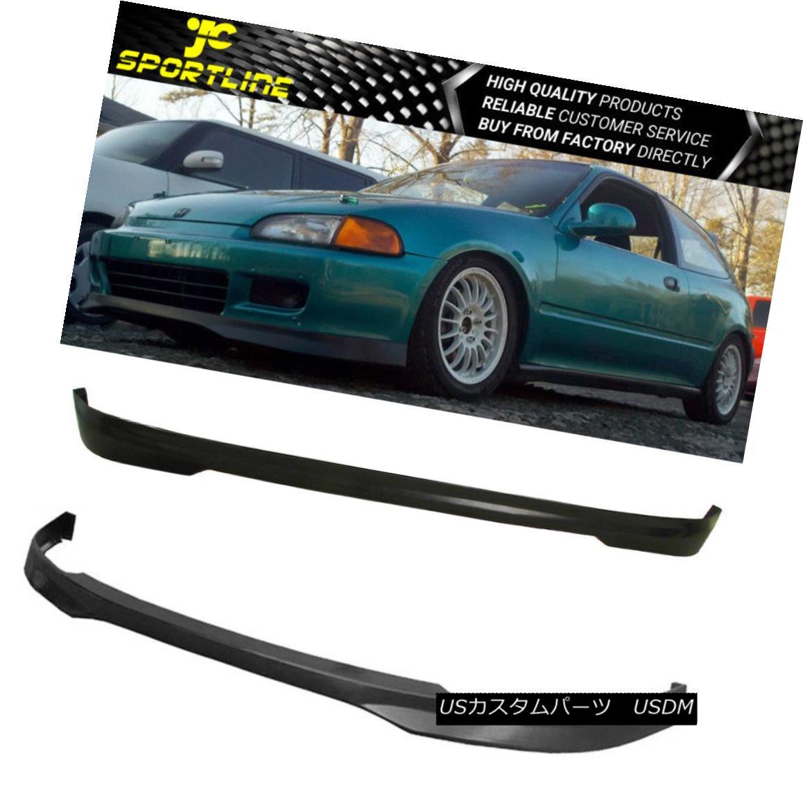 エアロパーツ Fits 92-95 Honda Civic 3DR TR Black PU Front & Rear Bumper Lip Spoiler Bodykit フィット92-95ホンダシビック3DR TRブラックPUフロント& リアバンパーリップスポイラーボディキット