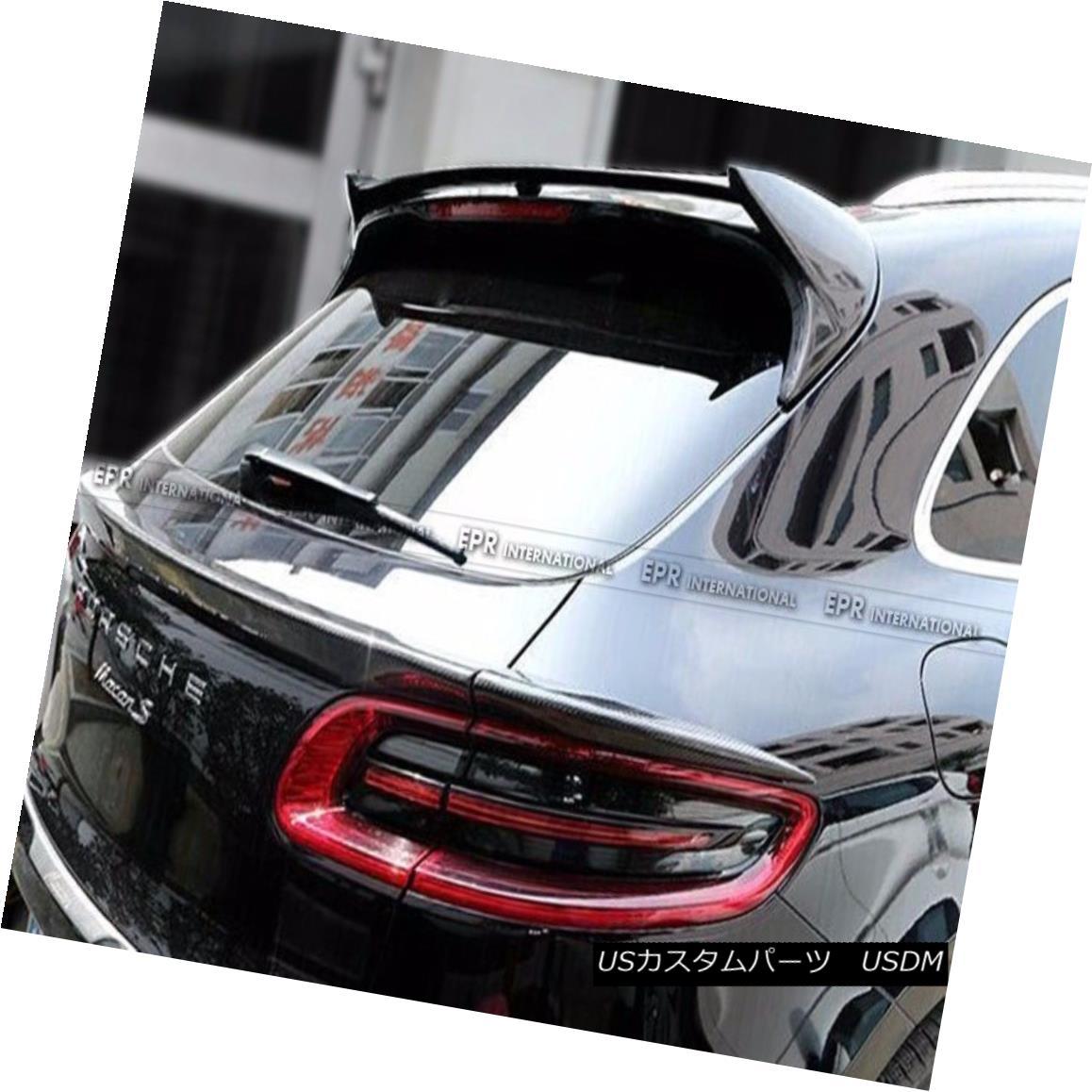 エアロパーツ Carbon Fiber Rear Roof Spoiler For Porsche Macan Window Top Wing Lip Kit ポルシェマカン用カーボンファイバーリアルーフスポイラーウインドリップキット