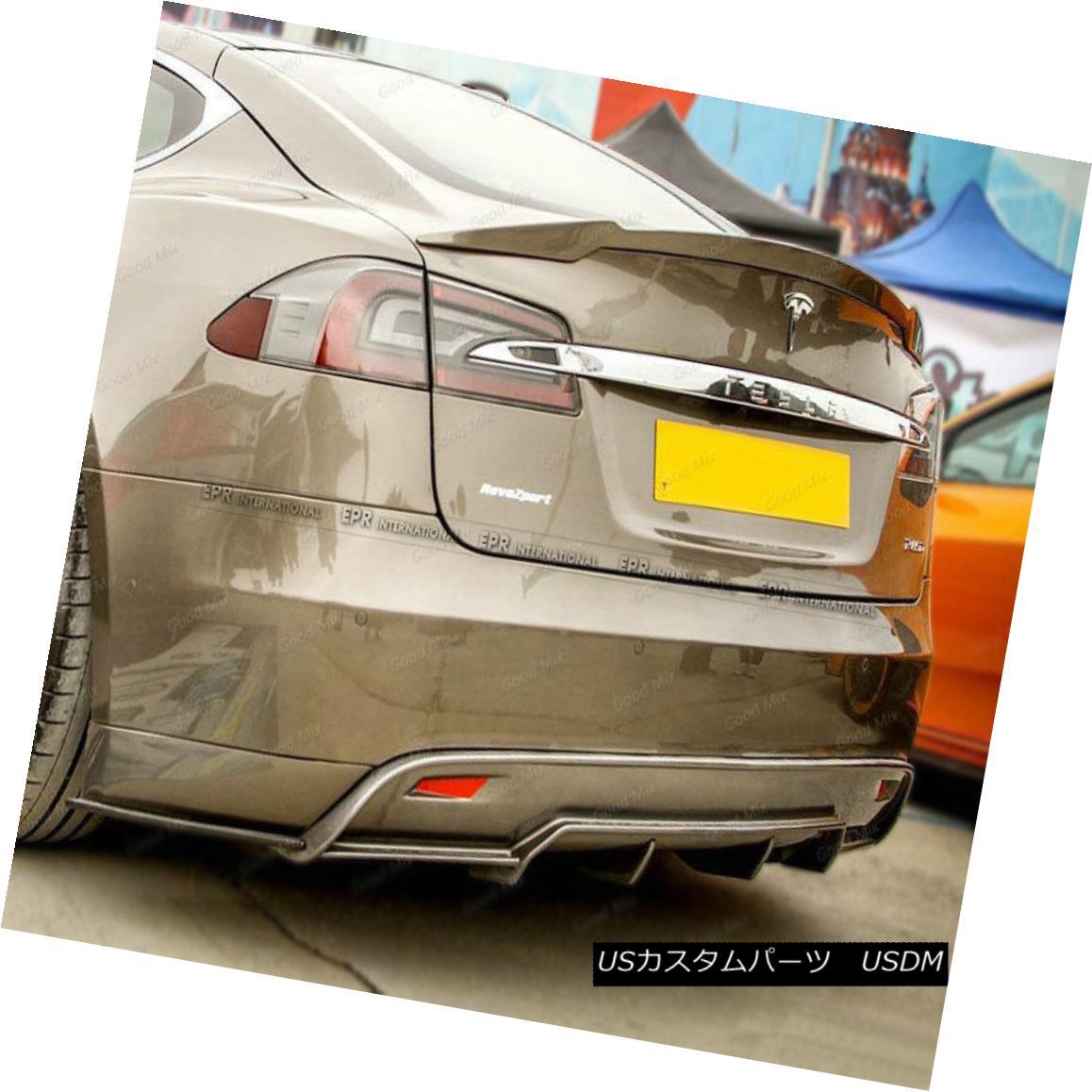 エアロパーツ Rear Ducktail Trunk Spoiler Boot Wing For Tesla Model S RVZ Style Carbon Fiber Tesla Model S RVZスタイルカーボンファイバー用リアダックテールトランクスポイラーブーツウィング
