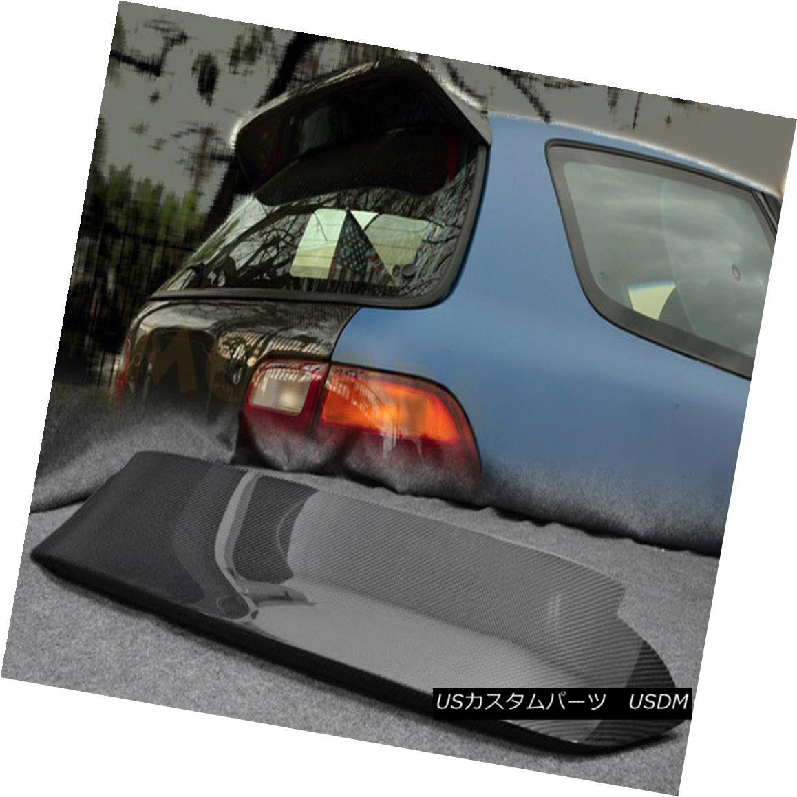 エアロパーツ ABC Rear Duckbill Spoiler Wing For Honda 92-95 EG Civic Spon Style Carbon Fiber ホンダ用ABCリアダックビルスポイラーウイング92-95 EGシビックスポンスタイルカーボンファイバー