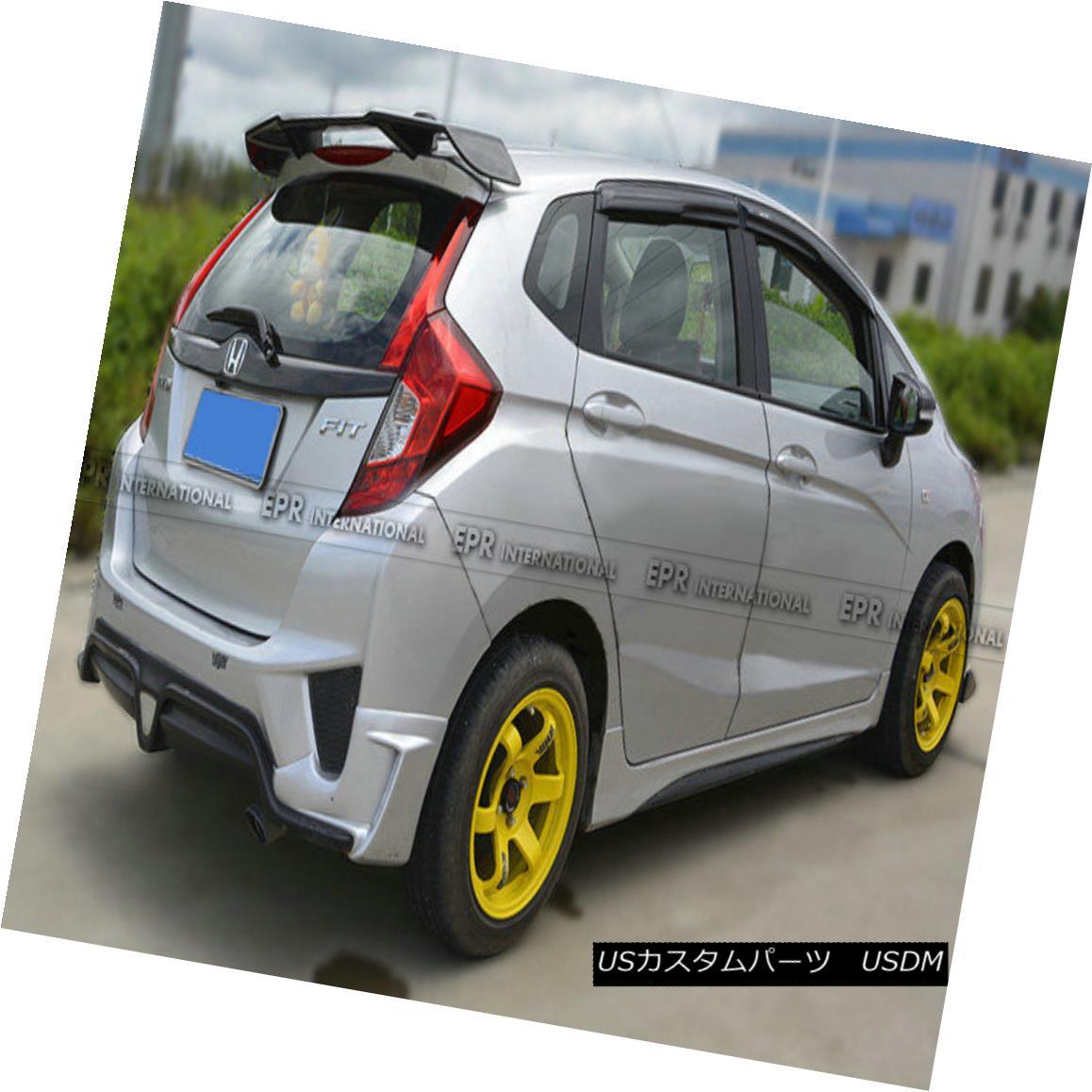 エアロパーツ AER Carbon Fiber For Honda Jazz Fit GK5 14-17 TL-Style Rear Roof Spoiler Wing ホンダジャズフィットGK5用AERカーボンファイバー14-17 TLスタイルのリアルーフスポイラーウイング