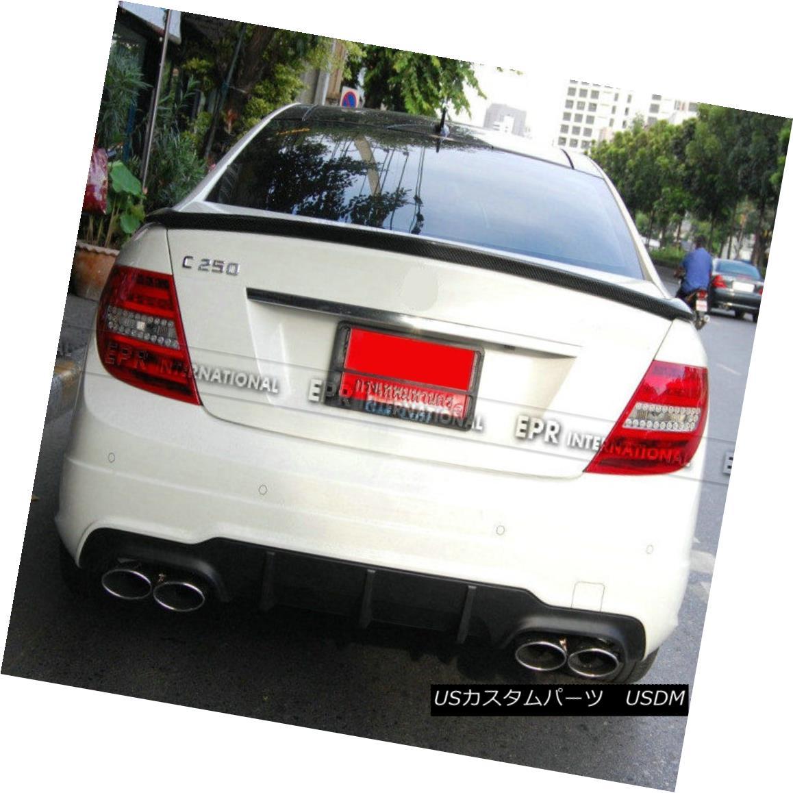 エアロパーツ ABC Rear Trunk Spoiler Wing Lip For Benz W204 C-Class Carlson Style Carbon Fiber ベンツW204 CクラスCarlsonスタイルカーボンファイバー用ABCリアトランクスポイラーウィングリップ