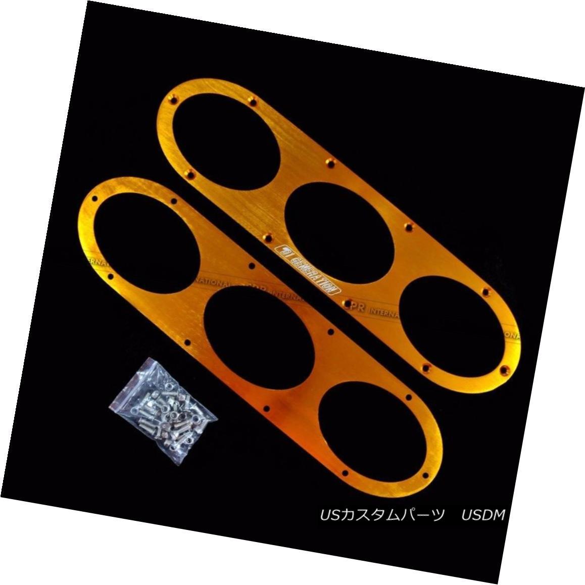 エアロパーツ Aluminium Universal Car Rear Bumper Air Diversion Diffuser Panel 2pcs (Gold) アルミニウムユニバーサルカーリアバンパーエアーディヴァージョンディフューザーパネル2本(金)